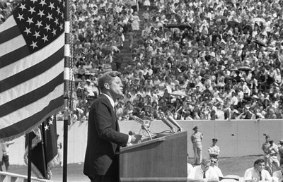 President Kennedy delivering speech