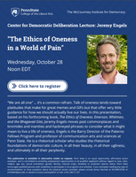 "CDD Lecture Series: Professor Engels to give talk on, ""The Ethics of Oneness for a World in Pain"""
